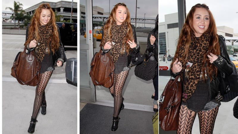 Illustration for article titled Miley's Airport Ensemble Is Just A Little Busy