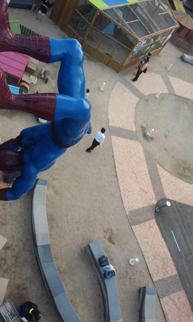 Spiderman erected over children's playground