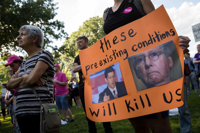 Protestors rally against the GOP health care plan on Capitol Hill, July 26, 2017 in Washington, D.C. (Drew Angerer/Getty Images)