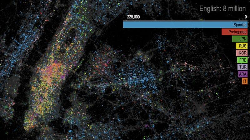 Illustration for article titled A Shimmering, Tweet-Based Langauge Map of NYC