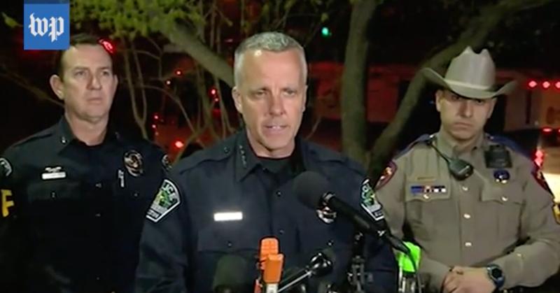 Austin, Texas, Police Chief Brian Manley (center)