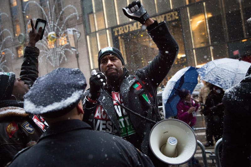 Black Lives Matter activist Hawk Newsome rallies activists in front of Trump Tower on Jan. 14, 2017, in New York City. (Kevin Hagen/Getty Images)