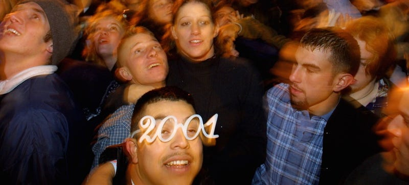 People celebrate the New Year in Austin, Texas on January 1, 2001 (Photo by Joe Raedle/Newsmakers)