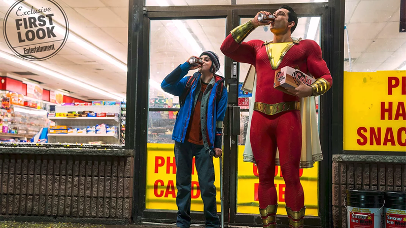 Shazam and Freddy enjoy a refreshing beverage in the long-awaited first look at Shazam!