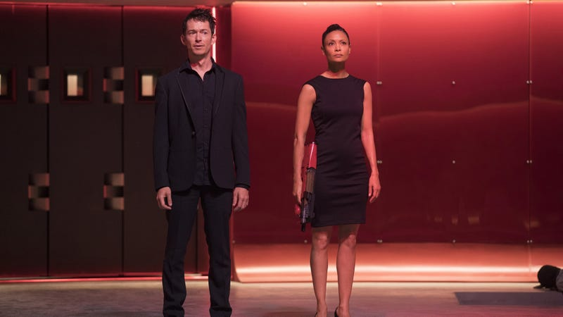 Simon Quarterman and Thandie Newton star in Westworld