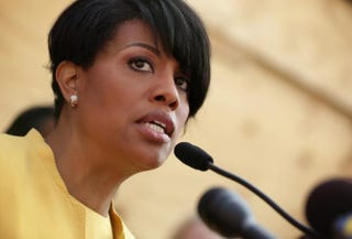 Mayor Stephanie Rawlings-Blake speaks during a news conference in front of the burned CVS in the Sandtown neighborhood in Baltimore onMay 7, 2015.Alex Wong/Getty Images