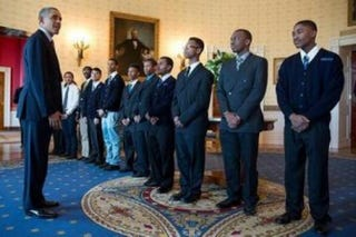 President Obama with young men who later appeared with him at Thursday's My Brother's Keeper eventPete Souza/White House