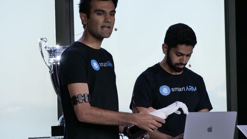 Hamayal Choudhry and Samin Khan present the smartARM at Microsoft's Imagine Cup