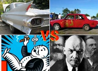 Illustration for article titled Capitalism Takes On Communism In Ohio: 1961 Cadillac Versus Lada Signet!