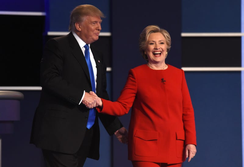 Republican presidential nominee Donald Trump shakes hands with Democratic presidential nominee Hillary Clinton after the first presidential debate at Hofstra University in Hempstead, N.Y., on Sept. 26, 2016. TIMOTHY A. CLARY/AFP/Getty Images