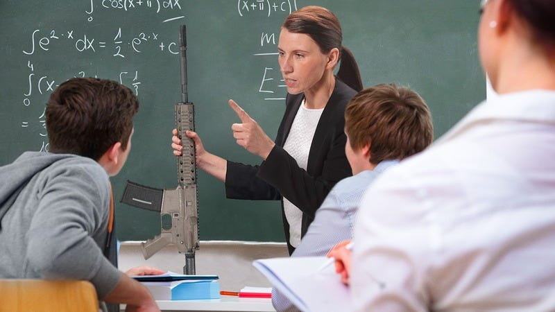 A teacher confiscating an AR-15 from a student.