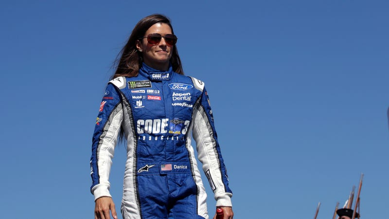 Danica Patrick is introduced prior to the NASCAR Cup Series 300 auto race at New Hampshire Motor Speedway in Loudon, N.H., Sunday, Sept. 24, 2017. (AP Photo/Charles Krupa)