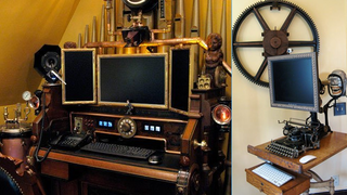 Illustration for article titled The Steampunk Workspace for Two