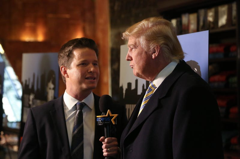 Billy Bush, then of Access Hollywood, interviews Donald Trump at the Celebrity Apprentice Red Carpet Event at Trump Tower in New York City on Jan. 20, 2015. (Rob Kim/Getty Images)