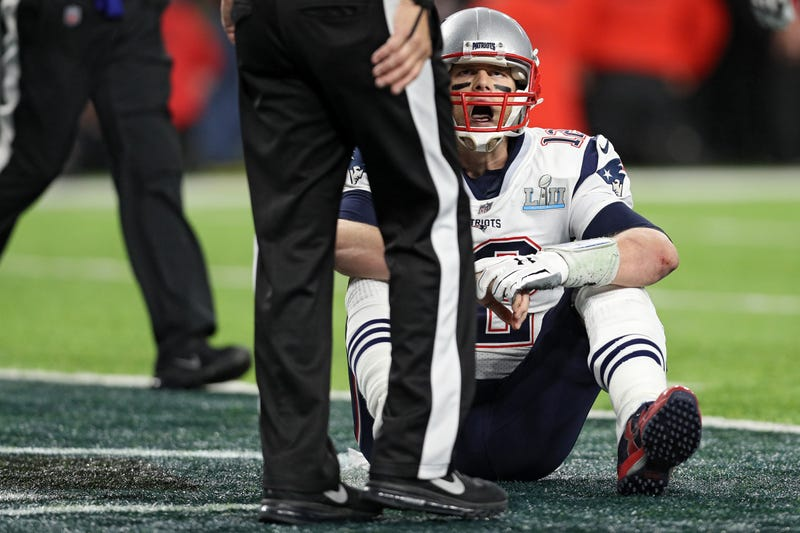 Tom Brady of the New England Patriots reacts against the Philadelphia Eagles during the fourth quarter in Super Bowl LII at U.S. Bank Stadium on Feb. 4, 2018, in Minneapolis. (Patrick Smith/Getty Images)