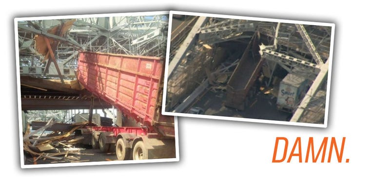 Illustration for article titled Dump Truck Driver Smashes Skyway, Causes Impressive Level Of Chaos
