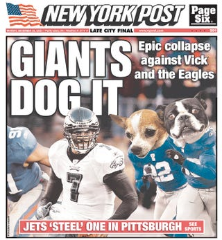 Illustration for article titled Weekend Winner: Philly, Now Better Than New York At Everything, Including Dog-Pun Headlines