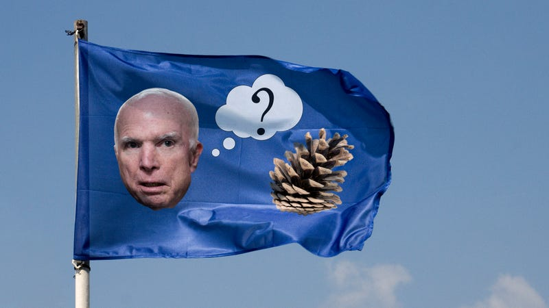 Illustration for article titled Ultimate Disrespect: The White House Is Still Flying Its Flag Depicting John McCain Being Confused By A Pinecone