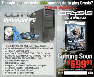 Illustration for article titled Crysis Warhead Ultra Optimized PC Comes with Face-Melting Specs... for $700?