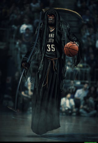 "Illustration for article titled Kevin Durant As The ""Slim Reaper"" Is Terrifying"