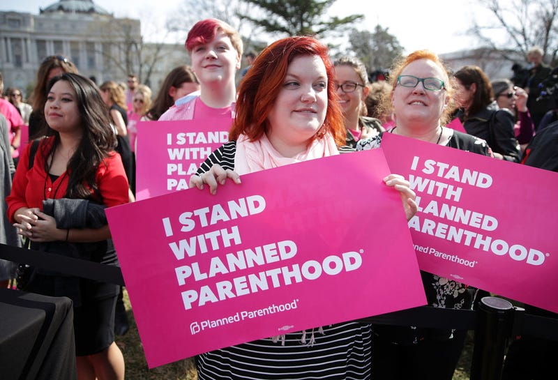 "Activists participate in a rally to support Planned Parenthood March 1, 2017, on Capitol Hill in Washington, D.C. Planned Parenthood held a ""We Are Planned Parenthood Capitol Takeover Day"" to lobby legislators not to defund the organization. (Alex Wong/Getty Images)"