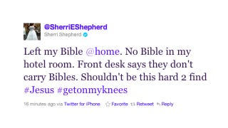 Illustration for article titled Sherri Shepherd Is Pretty Goddamn Pissed That Her Hotel Room Was Missing A Bible