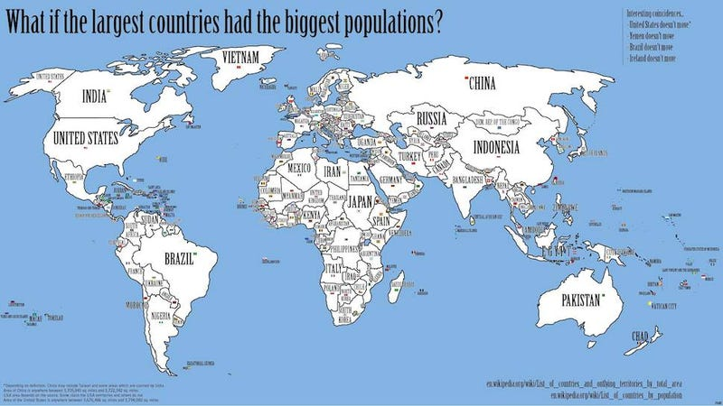The map of the world if every countrys population matched its size