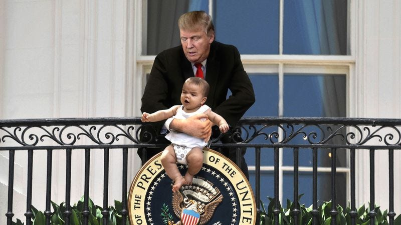 Illustration for article titled Crowd Shocked After Unhinged Trump Dangles Baby From Truman Balcony