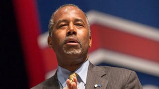 Republican presidential hopeful Ben Carson speaking at the Freedom Summit May 9, 2015, in Greenville, S.C.Richard Ellis/Getty Images