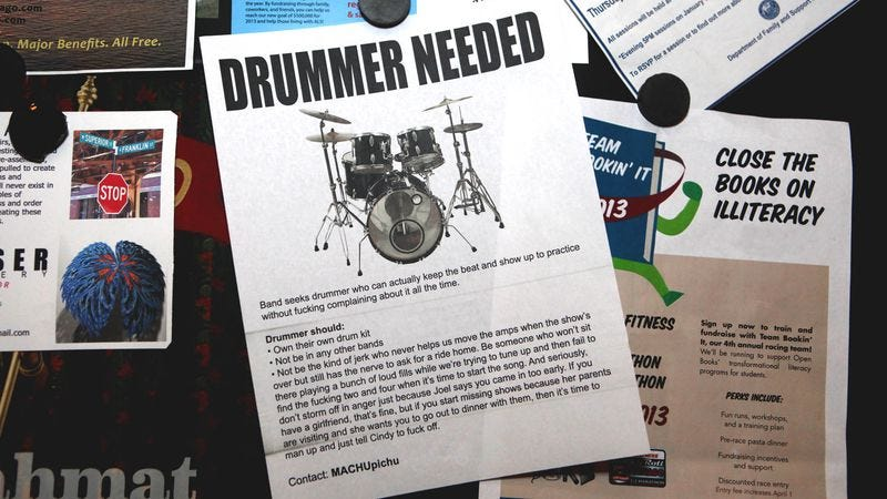 Illustration for article titled Ad For Drummer Personally Attacks Old Drummer
