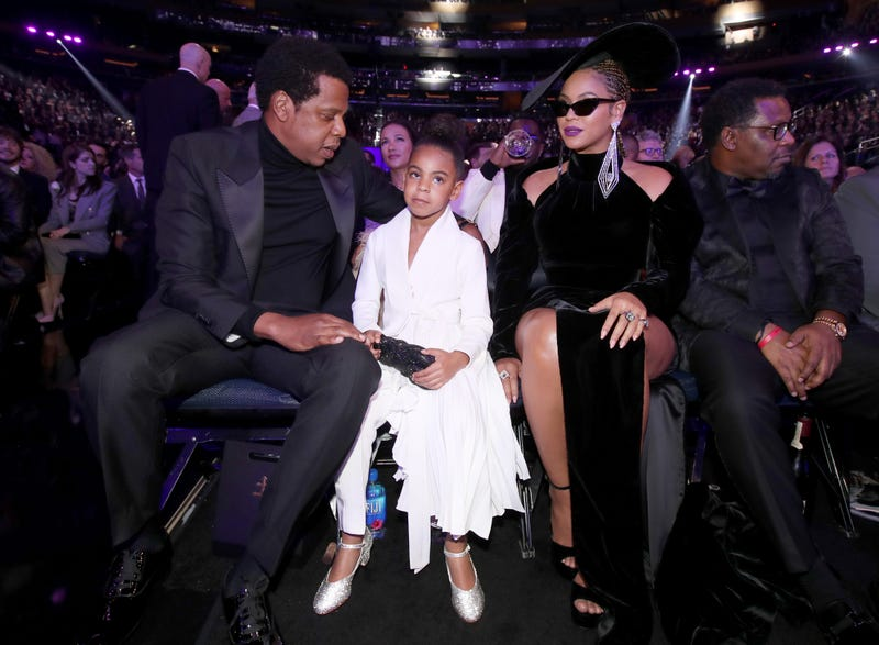 Jay-Z, Blue Ivy Carter and Beyoncé attend the 60th Annual Grammy Awards at Madison Square Garden on Jan. 28, 2018, in New York City. (Christopher Polk/Getty Images for NARAS)