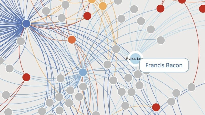 Illustration for article titled Mapping 16th Century Social Networks with Six Degrees of Francis Bacon