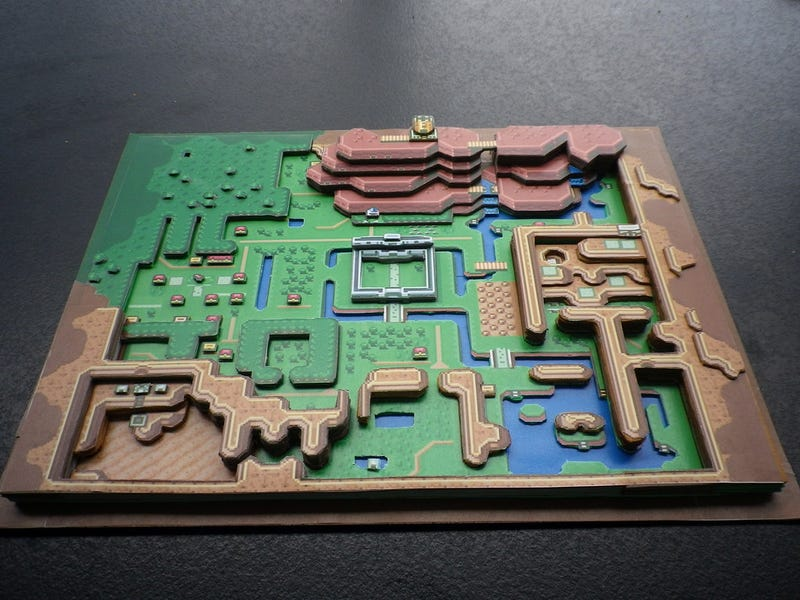 the legend of zelda a link to the pasts overworld as a 3d papercraft map