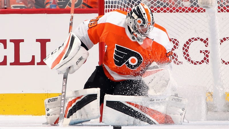 Carter Hart in a preseason game for the Flyers earlier this year.