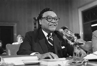 Transportation Secretary William T. Coleman testifies before Senate commerce subcommittee on Feb. 20, 1976. (AP Photo/Harvey Georges)