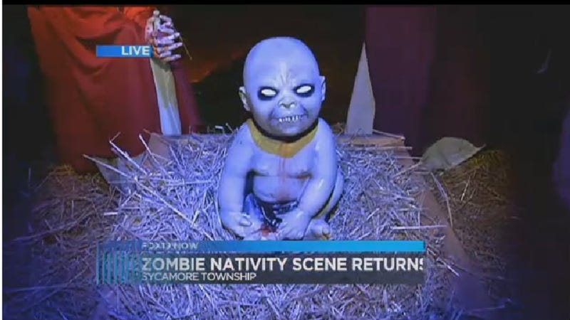 Illustration for article titled Ohio Man Honors True Spirit of Zombie Christmas by Refusing to Take Down Zombie Nativity Scene