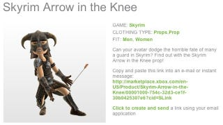 Illustration for article titled Finally, Your Xbox Live Avatar Can Take an Official Skyrim Arrow in the Knee
