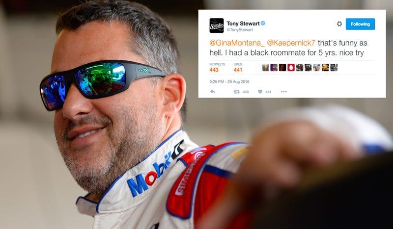 Photo credit: Getty Images; Screencap via Tony Stewart's tweet