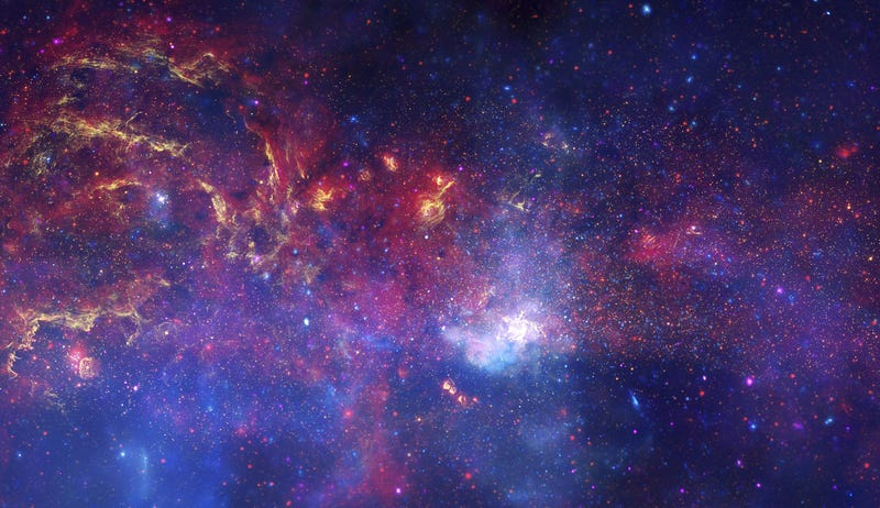 Composite view of the center of our galaxy. Image: NASA/JPL-Caltech/ESA/CXC/STScI