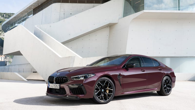 Illustration of the article entitled Look how purple this 600 hp BMW M8 Gran Coupe is.