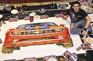 Ian Cook Made This Portrait Of A Chevy Camaro By Soaking The Wheels Remote Controlled Cars In Paint And Then Painstakingly Driving Them Around On