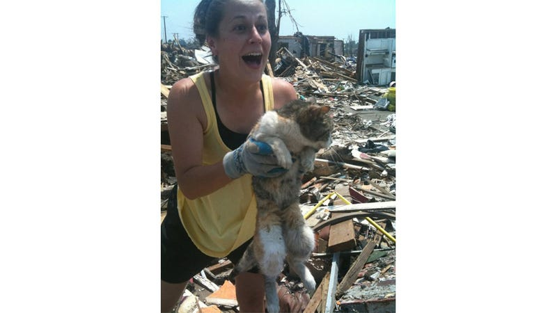 Illustration for article titled Happiest woman alive rescues her cat after 16-day burial in tornado debris