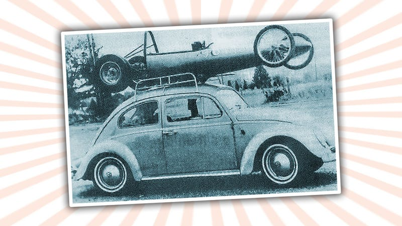 Illustration for article titled Everything Is Right In This Old Beetle Race Transporter Picture