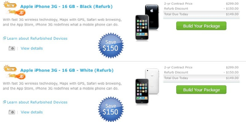 Illustration for article titled AT&T Selling Refurbished 16GB iPhone 3Gs For $149