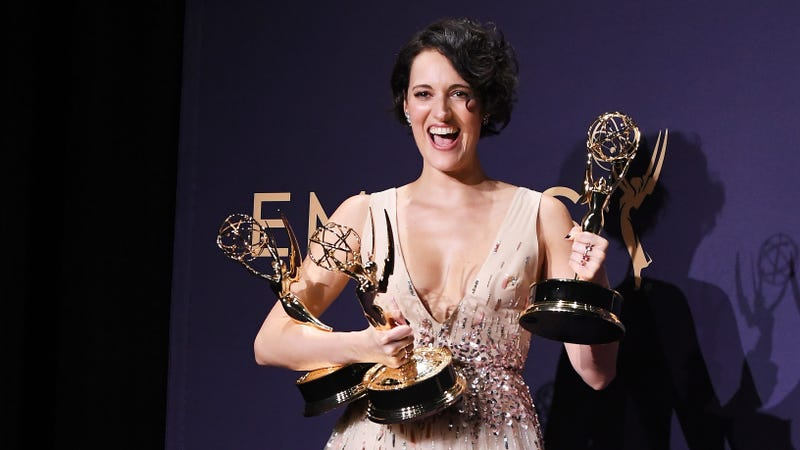 Fleabag creator-star Phoebe Waller-Bridge and three statues she didn't have to swipe from Godmother