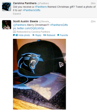 Illustration for article titled The Carolina Panthers Twitter Account Retweeted A Fan Who Got A Bag Of Weed For Christmas