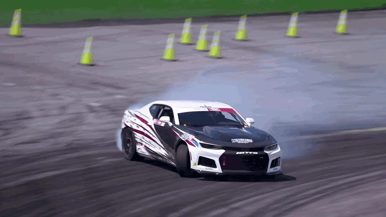 This Camaro Became Formula Drift's Groundbreaking First Electric Car After Getting Hit by a Train thumbnail