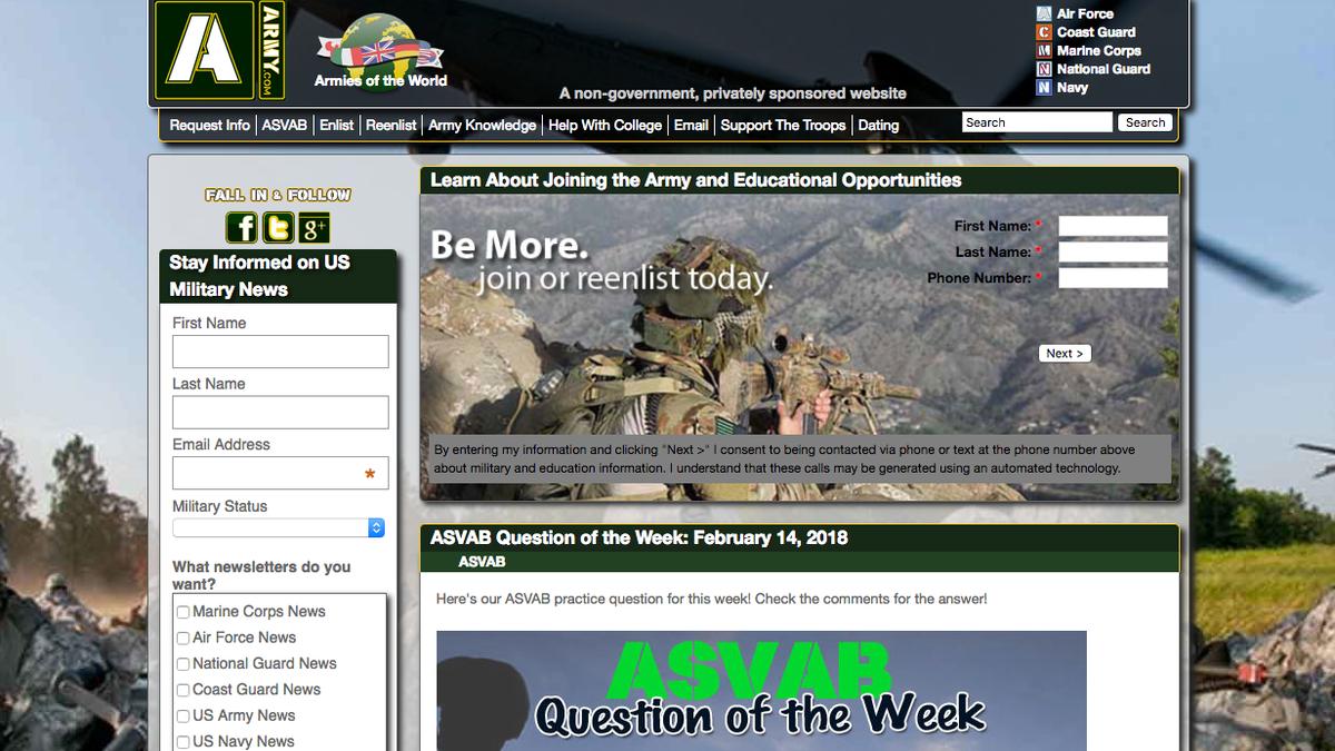 Us military website