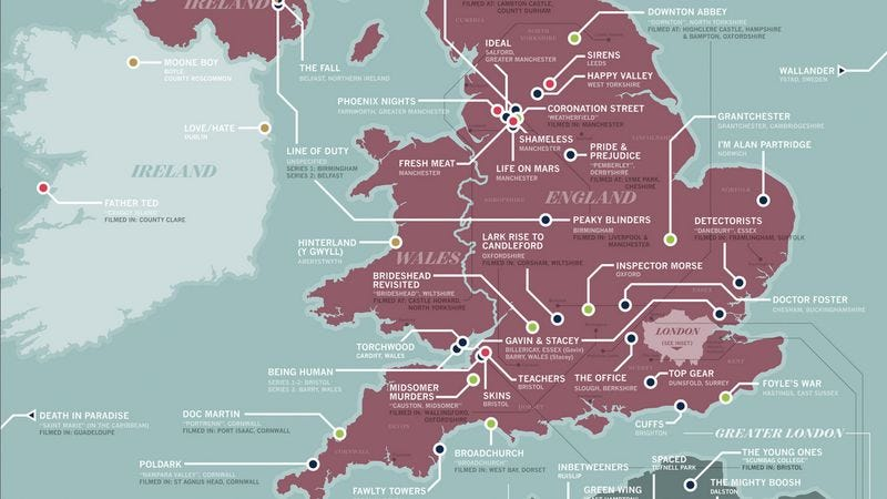 Illustration for article titled Americans: Use this map to figure out where TV shows across the pond take place