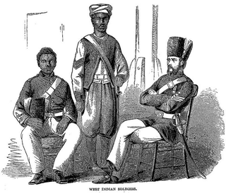 """West Indian Soldiers, illustration of article """"Cast-away in Jamaica"""" by W.E. Sewell, inHarper's Monthly Magazine, January 1861Wikimedia Commons"""